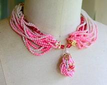Vintage Necklace PINK beaded 1960s Multi Strand STATEMENT Japan