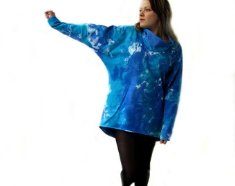 Sky Blue Oversized Top Plus Size Sweatshirt Oversize Sweatshirt Plus size Tunic Maternity Tunic Casual Top  Jersey Loose Top Tiedyed Tunic