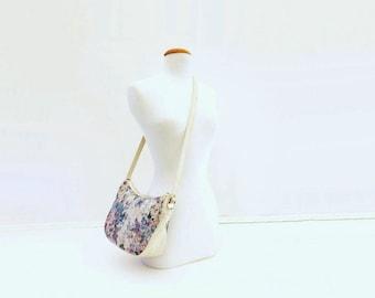Vintage Tapestry Bag, Floral Boho Purse, 1980s White Bag, Cross Body 80s Bag, Floral Shoulder Bag