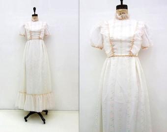 70s Bridesmaid Dress Vintage 70s Wedding Boho Wedding Dress 1970s Chiffon Maxi Prairie Dress White Sheer Maxi 1970s Wedding Dress Floral s