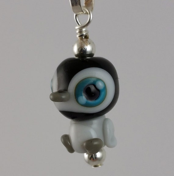 THE CUTEST Baby Smidgen Penguin Lampwork Glass Necklace and Cell Charm
