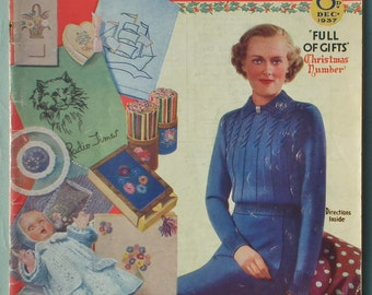 "Vintage 30s Good Needlework and Knitting Magazine Dec 1937 UK embroidery transfer cat motif women's sweater 12"" baby doll's layette patterns"
