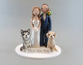 Wedding Cake Topper - Personalized Bride & Groom with Pets