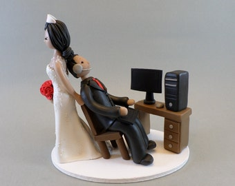 Nurse Dragging Computer Geek Custom Made Wedding Cake Topper
