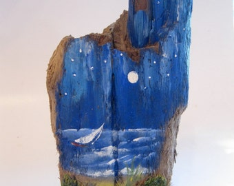 Painted Driftwood, Beach Decor, Coastal Decor, Nautical, Sailboats, Dunes, Beach House Decor, Ocean Decor, by gardenstones on etsy