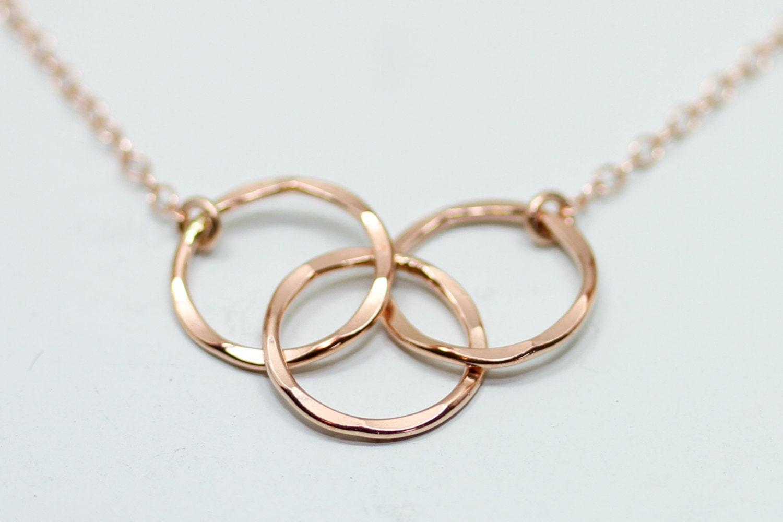 rose gold necklace mother daughter necklace 3 circle. Black Bedroom Furniture Sets. Home Design Ideas