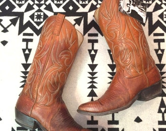 Vintage Womens Boots Size 10.5 Mens Boots Size 9.5 Auburn Brown Boots Leather Cowboy Boots Lizard Skin Boots Southwestern Boots Dan Post
