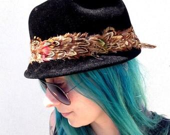 Vintage Hat Black Fedora Velvet Fedora Brown Feathers Red Feathers Green Feathers Brim Hat Black Hat Velvet Hat Feather Hat France Gimbels