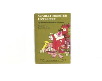Vintage Halloween Book, Vintage Book, Scarlet Monster Lives Here, by Marjorie Weinman, Sharmat, Hardcover 1979, An I Can Read Book