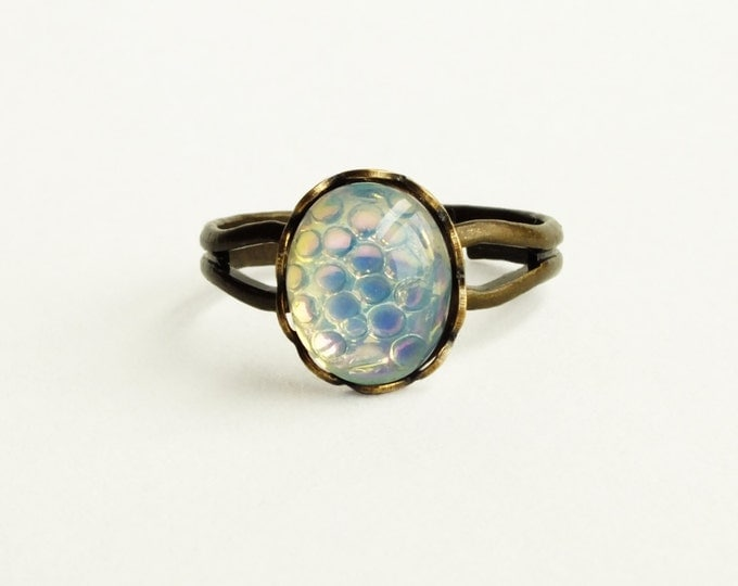 White Opal Snake Ring Vintage Glass Fish Scale Ring Adjustable White Moonstone Ring Fire Opal Victorian Jewelry