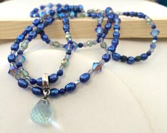 """Lorelei Pandora pendant blue pearl choker necklace set Swarovski Crystal and lapis- """"Starlight"""""""