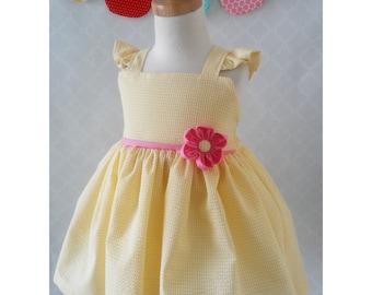 Girls Easter Dress, Spring Dress, Girls Yellow Dress, Girls Birthday Dress, Flower Girls dress, Girl Twirl Dress, 2T Dress Ready to Ship