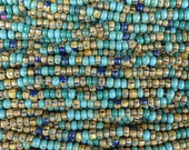 4/0 (5x4mm) Aged Opaque Navajo Turquoise Picasso Mix Czech Glass Seed Beads - 20 Inch Strand (DW237)