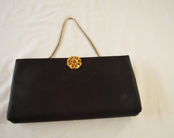 sale Vintage BLACK CLUTCH purse by Ande tuck in chain