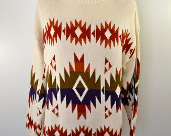 Vintage WOMENS Turtle Neck SWEATER cotton with shoulder pads!
