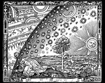 Flammarion wood engraving print - Middle Ages Representation of the Heavens ~ Giclee Fine Art Print - Wall Art Classic