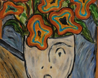 Homage to Edvard Munch The Scream a Vase Face Painting by Joan Princing Art