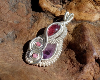 Pink Tourmaline, Amethyst, Spinel Ruby and Sterling Silver Wire Wrapped Pendant ~ Vera Cruz Amethyst, Genuine Gemstones, February Birthstone