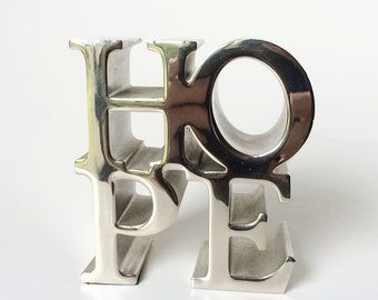 Vintage HOPE Paperweight, Silver Modern Office Accessory, Desk Decor