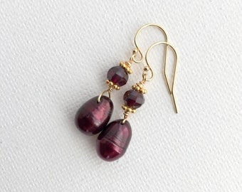 Garnet Earrings with Burgundy Freshwater Pearls and 14K Yellow Gold Fill