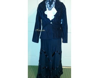 Dress Downton Edwardian Victorian traveling suit striped jacket skirt blouse costume