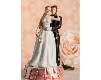 Ruffled Ribbon Rose Bride and Groom Cake Topper - 102323R
