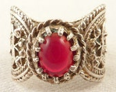 Size 7.5 Vintage Persian Style Sterling Ring with Red Glass Center Stone