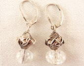 Vintage Wavy Sterling Drop Earrings with Clear Glass Bead