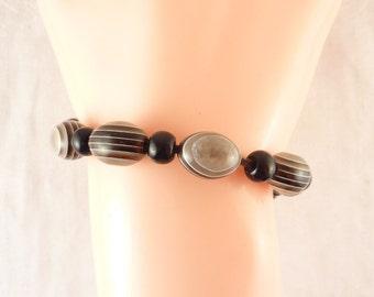 Adjustable Vintage Banded Resin Beaded Leather Anklet or Bracelet