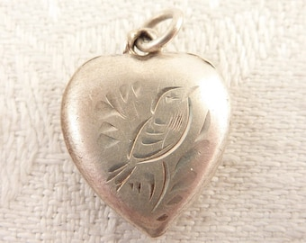 Antique Victorian Sterling Engraved Songbird Puffy Heart Charm