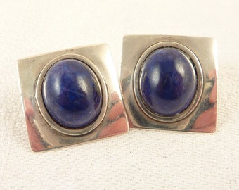 Vintage Square Sterling Domed Lapis Lazuli Post Earrings