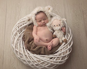 Bonnet and Teddy Set Photo Prop Little Lamb Set for Newborn MADE TO ORDER