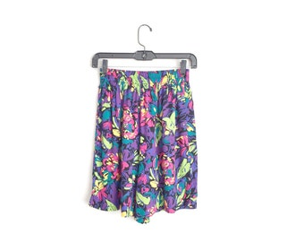Size S/M // ABSTRACT PATTERNED CULOTTES // Rayon Shorts - Colorful - Painterly Floral Print - Vintage '80s.