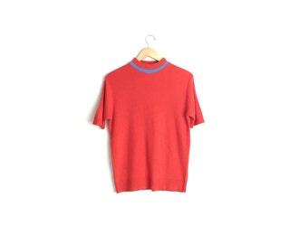 SHORT SLEEVE SWEATER Top // Knit Mock Turtleneck - Red-Orange with Blue Stripe - Vintage '60s. Size M.