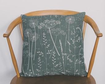 Floral Botanical Design Sofa Cushion / Gift Ideas / Gifts for Her / Paper Meadow / Charcoal / Hannah Nunn