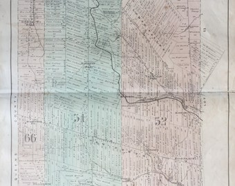 Large Antique Map of Prince Edward Island - Lot 51 - Lot 52 - Lot 66 - Kings County - 1880 Handcolored Map