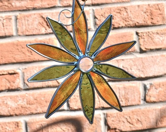Autumn Glory Stained Glass Flower abstract flower suncatcher