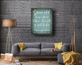 Grow old along with me wedding anniversary gift teal wedding romantic gift for couple mint wedding wedding proposal romantic canvas wall art