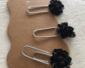 Black flower planner paperclips, bookmarks, journal, journal clips, rose