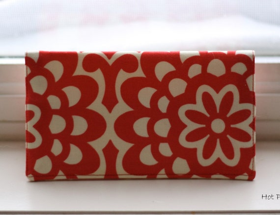 Checkbook Cover -Cherry Wallflower