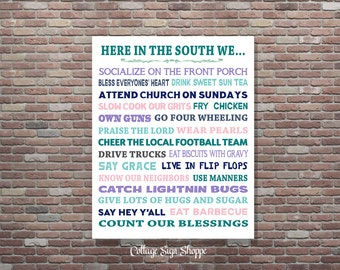 Southern Sayings Hey Y All Southern Wall Art Sweet Tea