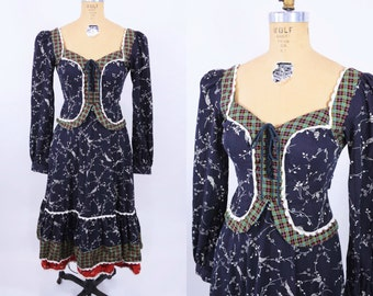 1970s corset dress | 70s plaid floral print dress  | vintage Gunne Sax boho dress | XS W 25""