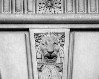 Black White Lion Print, Architectural Detail Art, Black and White Photography, Urban Art Leo,Carved Lion Architectural Art,Black White Print