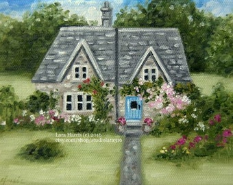 The Blue Door...Original Cottage Art Painting in OIL by LARA tiny house