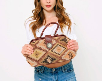 Vintage 90s IKAT Handbag Earth Tone SOUTHWESTERN Bag WOVEN Cotton Handbag Boho Bag
