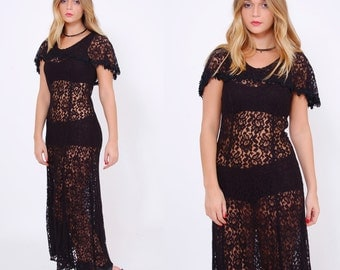 Vintage 80s Black LACE Dress Lace Maxi Dress Boho Sheer GYPSY Dress