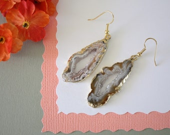 Geode Earrings Gold, Crystal Slice Earrings, Agate, BoHo Jewelry, Druzy Gold Earrings, Drusy Earrings, GGE71