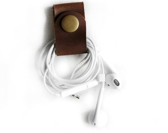 Brown Leather Cord Keeper Headphone Wrap Earbud Holder Cord Wrapper