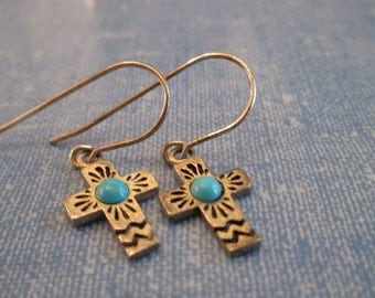 EARRINGS - TURQUOISE - CROSS - Detailed - Fish  Hook -  Sterling Silver  - Dangle 389