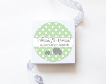 Baby Elephant with Mommy /  Baby Shower Stickers / Unisex